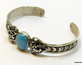 Totally Sweet, Totally Natural, One of a Kind, Sleeping Beauty Turquoise and Sterling Silver Cuff Bracelet