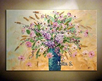 """36"""" Original Abstract Heavy Textured Painting.Modern Wildflowers Bouquet Painting.Impasto.Palette Knife.MADE to ORDER by Nata S."""