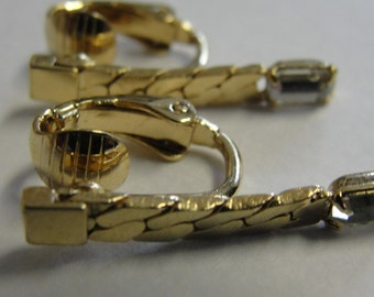 Emerald Shape Rhinestone Chain Clip Earrings