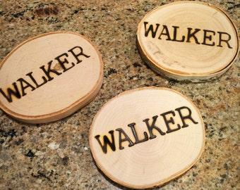 Wood Burned NAME Coasters 1 Set