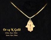 Gold hamsa charm, 14k gold hand of fatima khamsa