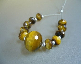Tiger Eye Faceted Focal Bead Rondelle Necklace Pendant Set of 11 Beads