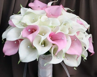 white pale pink calla lily bouquet, wedding flowers, wedding bouquet, bridal bouquet, calla lily flowers