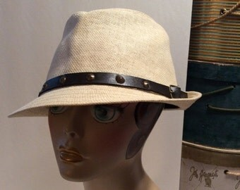 50% Off Sale Vintage Straw Fedora Hat with Leather Belt Band