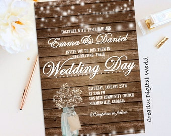 Rustic Wedding Invitation Rustic Wedding Invitations Country Invitations Marriage Invitations Printable Invitation Christmas Wedding Invites