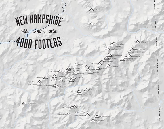 New Hampshire 4000 Footers Map 11x14 Print By BestMapsEver