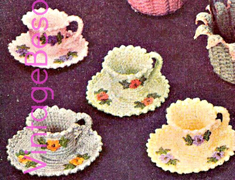 Instant download pdf pattern tea cups crochet pattern and instant download pdf pattern tea cups crochet pattern and saucers crochet pattern vintage 50s crochet pattern flowers crochet leaves bankloansurffo Images