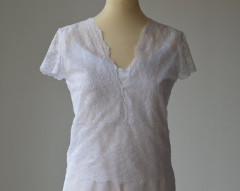 Top Bridal, wedding white lace blouse