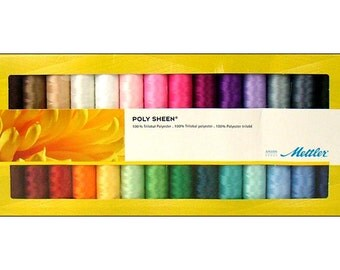 Mettler 28 pc Poly Sheen Embroidery Thread in Solids