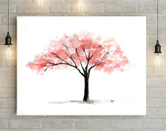 Tree Art - pink tree watercolor painting - Print - Poster - Zen tree wall art - minimalistic art - pink decor living room tree illustration