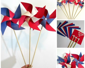 4th of July Paper Pinwheels DIY Kit Pinwheel Paper Crafting Kit Party Favors Kit Set of 6 Party Decoration Crafting Kit Table Centerpiece