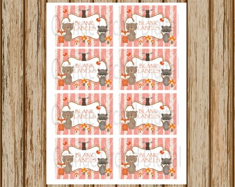 INSTANT DOWNLOAD- Pink Woodland Labels- 8 Blank Labels- woodland stickers- classroom labels- 8.5 x 11 size- Print Your Own- Digital Image
