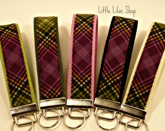 Key Fob Wristlet, Plaid Key Fob, Fabric Keychain, Key Holder, Key Chain Wristlet, Stocking Stuffer, Fabric Key Holder, Green and Purple