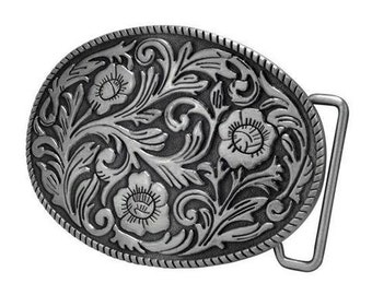 Floral Womens Western Belt Buckle, Silver and Bronze Available