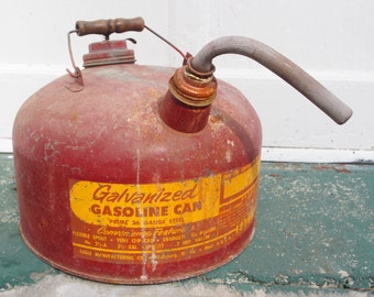 Vintage Gas Can, Galvanized Gasoline Can, Metal Gas Can, Red Gas Can, Rusty Gas Can