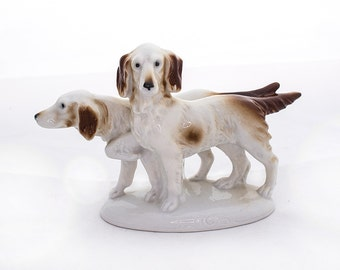 Carl Scheidig Figurine, Pair of Hunting Dogs, Bird Dogs, Spaniels, German Porcelain