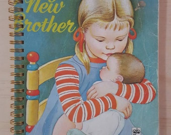 Golden Book Notebook - Vintage  Jenny's New Brother - A5 Rebound Journal - 200 page
