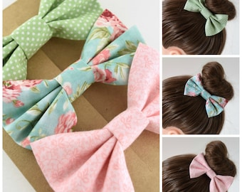 Spring Hair Bow Set for Girls | Floral Fabric Hair Bow Set | Fabric Hair Bows for Girls | Hair Bows for Teens | Bows for Women | Hair Clip