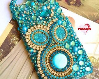 Luxury phone case, blue turquoise phone cover, cell phone case, gemstone phone case, embellishments case, crystal phone case, funda movil