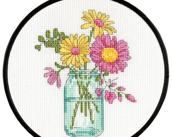 Dimensions Beginner Learn-A-Craft Counted Cross Stitch Kit -  Summer Flowers #72-74550
