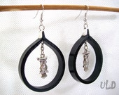 Owl Symbol Earrings - Black - Leather - Hoop - Circle - Handmade jewelry - Dangle - Native American Indian - Wisdom - Unique - Design - Gift