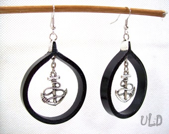 Leather anchor earrings - Gift - Nautical - Jewelry - Marine - Navigation - Symbol - Wife - Girlfriend - Female Captain - Unique - Design
