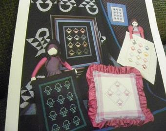 Cross Stitch Pattern Leaflet - Amish Baskets by Homespun Hearts - Amish Basket Designs.