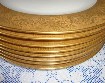 Sold Exquisite Gold Encrusted Dinner plates Made For OVINGTON's OF NEWYORK And Chicago