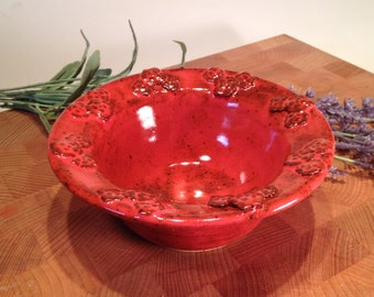 "Red Bowl with 3D Floral Patterned Rim, Change Bowl, Ice Cream Bowl, Soup Bowl 6.5"" x 2.5"" 2016 0049"