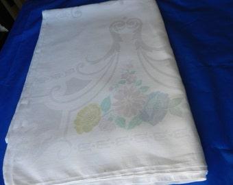 Old Bleach Irish Linen Damask Tablecloth, 1950s, Large