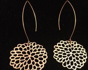 Chandelier Earrings, Gold Earrings, Gold Dangle Earrings, Hoop Earrings, Floral, Long Earrings, Elegant Earrings, Modern, Bridesmaid Jewelry