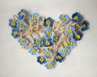 Blue Crochet flower necklace Lariat scarf Flower scarf garland Floral scarf women Crochet Lariat scarf Crochet Leaf scarf  Neck accessories