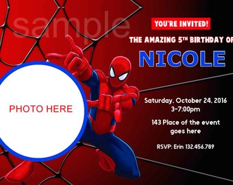Spiderman Invitation. Spiderman Birthday Invitation. Spider man Birthday. Spider man Invitation. Digital (you print)