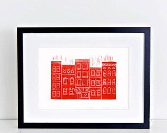 Brooklyn Brownstones Linocut New York City Red Art Print 8x10