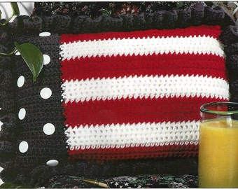 Crochet Americana Striped Patriotic Pillow, Fourth of July Memorial Day Veterans Days- PDF Download
