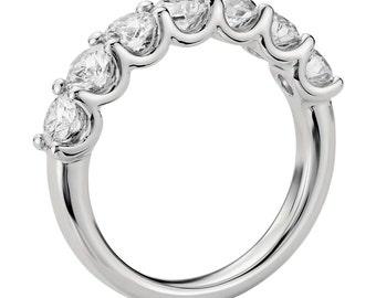 7 Seven Stone Diamond Anniversary Wedding Band - White Gold - Platinum