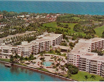 Vintage Palm Beach Towers Real Photo Postcard Unused Divided Back 1960's