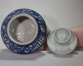 Small Kiva Shaped White Stoneware Pot with Blue-Black Underglaze Decoration and White Carved Lid