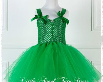 Tinkerbell Fairy Fancy Dress Costume - White Fairy Wings Included  - Handmade Green Tutu Dress - Fairy dress up - Age 2 3 4 5 6 7 8 9 10 11