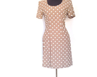 Vintage 80's brown polka dot dress.