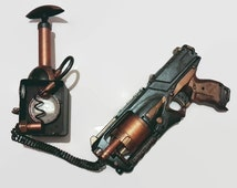 Steampunk hand painted gun LARP weapon gun Nerf custom gun Cosplay weapon gun with pump action (movable) powerpack on belt chain Free P&P uk