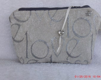 """LOVE Clutch, 8""""x5"""", Love zipper clutch, Bag, Purse, Clutch, Love Gray pouch, Love Gray Bag, Love Gray zipper clutch, Bag, purse, wristlet"""