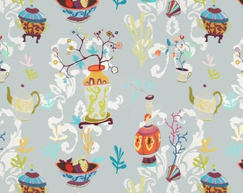 KRAVET COUTURE Lee Jofa Chinoiserie VASES Teapots Toile Linen Fabric 10 Yards