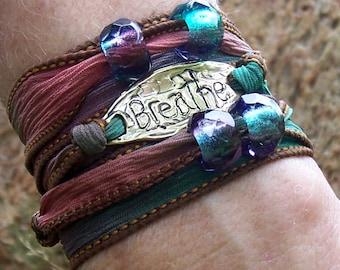 SALE / Silk Ribbon Wrap Breathe Bracelet / Silk Ribbon Wrap Bracelet