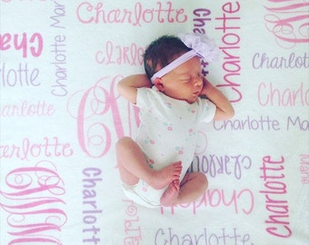 Baby Girl Blanket Personalize Baby Blanket Monogram Baby Blanket Name Blanket Swaddle Receiving Blanket Baby Shower Gift