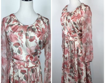 Vintage 70s dress / 1970s dress / floral dress / hippie dress / boho dress / volup dress / plus size dress / 60s 70s M1020