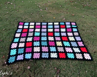 Vintage Afghan Granny Squares Throw