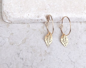 Leaves earrings, 14k Gold filled hoop earrings, dainty earrings, bridesmaids gift, stud earrings