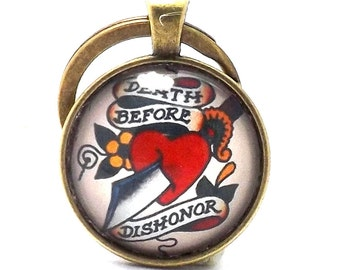 Antique Bronze Effect Glass Cabochon Old School Tattoo Keychain Death Before Dishonor