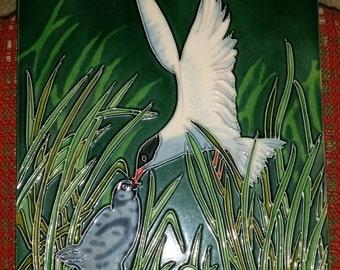 "Vintage Art Tile, Sea Gull Feeding Baby, 8"" Square"